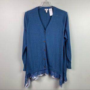 LOGO Lori Goldstein Lace Trim Cardigan Blue XL